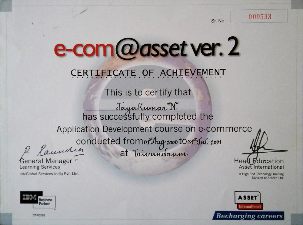 Application Development in E-Commerce Asset International